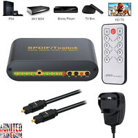 4X2 Digital Audio Switch Box Splitter Optical/Toslink Cable 2M Remote Control UK