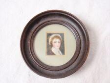 "Pair Folk Art Miniature Portraits Female Round Wood Frames Antique Woman 3.5"""