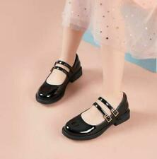 Women Shiny Pu Leather Mary Janes Round Toe Shoes Lolita College Style Loafers