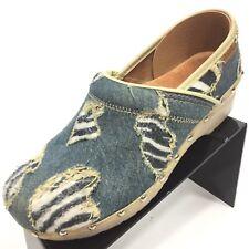 DANSKO Professional Women's Clog Shoe Blue Denim Distressed 40 / 9.5