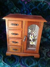 Antique Natural Wood Glass Door & 4 Drawer Jewellery Cabinet