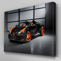 Cars510 Black Bugatti Veyron Studio Canvas Art Ready to Hang Picture Print