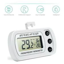 Digital Electronic Fridge Freezer Room Thermometer With Magnet Hook White
