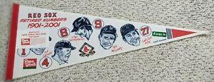 MLB 2001 BOSTON RED SOX RETIRED PLAYERS PENNANT YAZ,WILLIAMS,FISK,DOERR,CRONIN