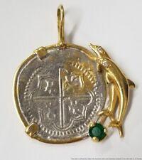 14k Gold Diamond Natural Emerald Dolphin Shipwreck Coin Necklace Pendant