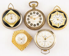 5 Watches For Parts or Repair Vintage Mechanical Wind Up Necklace Pendant