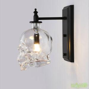 Retro Skull Bones Wall Sconce Light Fixtures Vintage Glass Wall Lamp Loft Decor