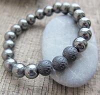 8MM Natural Lava Hematite silvery pretty Healing Reiki Chic handmade Bracelet
