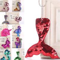 Glitter Sequins Mermaid Unicorn Key Ring Pendant Women Car Bag Hanging Decor