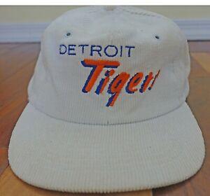 Vintage Detroit Tigers White Corduroy Baseball Snapback Hat Cap