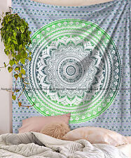 Indian queen size tapestry ombre mandala wall hanging bohemian cotton bedspread