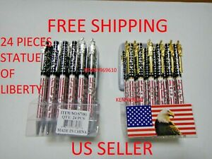 24X-BLACK Ballpoint Ink Pen USA Stars and Stripes Flag / Statue of Liberty Clip