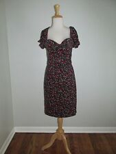 Vintage Betsey Johnson Size 8 Rose Print Floral Puff Sleeve Cord Dress