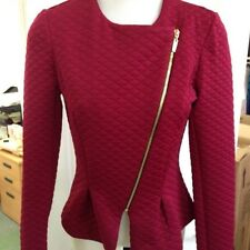 EX ASOS WINE COLOUR LONG SLEEVES, FRONT ZIP JACKET SIZE 16,14