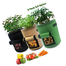 Garden Grow Bags Flower Planter Pots Gallon Boxes Fabric Cloth 3 Pcs 6.5 Gallons
