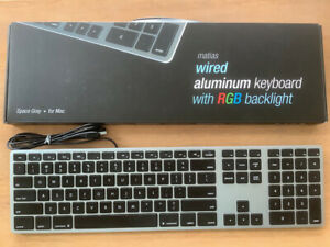 Matias Wired Aluminum Keyboard w/ RGB Backlight Backlit Space Gray for Apple Mac