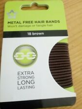 18 STRONG THIN Brown Non No Metal Free Hair Bobbles Elastic Band Long Girl