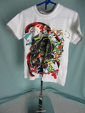 Ed Hardy Kids Tshirt size 2/3 T Black Panther Gold Letters White Shirt NWT