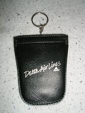 "Delta Air Lines KEY CHAIN CASE w/ gold writing  "" Delta Air Lines ""  NIB"