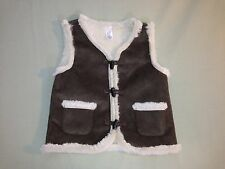 Nwot Infant Baby Gap 18-24 Months Brown Cream Fur Vest