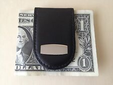 Leather Money Clip with Photo Frame and Magnetic Clasp, Black, New