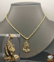 "10k Yellow Gold Rope Chain  26"" &Praying Hand Charm Pendant Cross,Real 10kt N"
