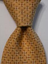 ERMENEGILDO ZEGNA Mens 100% Silk Necktie ITALY Luxury Geometric Yellow/Brown GUC