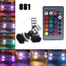 2Pcs 12SMD RGB LED Fog Lights Daytime Running Bulb 881 889 Lamp + Remote Control
