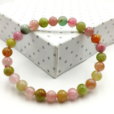 7mm Natural Colorful Tourmaline Crystal Clear Round Beads Reiki Bracelet AAAA