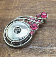 NEW Rose Crystal Alloy Pendant for Fit Noosa Necklace Snap Chunk Button #R160