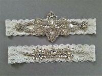 Wedding Bridal Garter Set - SILVER CLEAR CRYSTAL IVORY LACE Wedding Garter Set