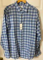 Southern Tide Men's Plaid Shirt Linen/Cotton Blend Trim-Fit Sky Blue Size L NWT