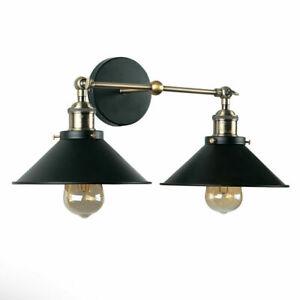 Colonial Steampunk Metal Antique Brass Black Twin Wall Light, E27, - MINISUN