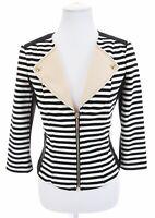 White House Black Market Sz 6 Women Tuce Full Zip Striped Knit Jacket Nautical S