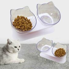 New listing Pet Single/Double Bowls with Raised Stand Cat Non-slip Food Water Bowl Feeder Us