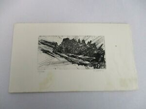 """1965 SIGNED TERRY HAASS PRINT 10/40 ENGRAVING 4"""" X 2"""" ~ FOLDED CARD"""