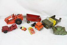 Vintage Pressed Steel Toy Truck Lot Collection Army Tank M-50 Cragstan Rare Old