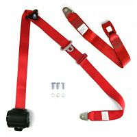 3pt Bench Seat Belt Conversion/Replacement Red Retractable Standard Buckle Ea.
