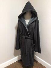 UGG Brunswick Soft Fleece Belt Hooded Bath Robe Black Bear Heather Size L XL Men