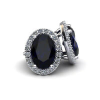 14K WHITE GOLD 2 1/4 CARAT OVAL SHAPE SAPPHIRE AND HALO DIAMOND STUD EARRINGS