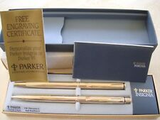 PARKER INSIGNIA 14K Dimonite Fileté Ballpoint Pen & Pencil Set in Original Box