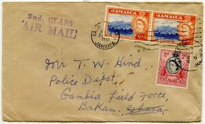 JAMAICA to GAMBIA FIELD FORCE POLICE...2nd CLASS AIRMAIL... 1961 BAKAU