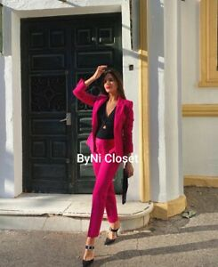 ZARA FUCHSIA TUXEDO JACKET BLAZER WITH LAPEL 7834/783(MATCHING PANTS AVAILABLE)