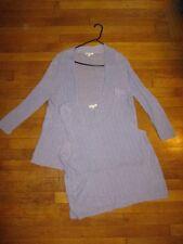 EILEEN FISHER sz XL lilac ribbed linen knit cardigan/tank twin set
