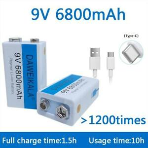 1-10pcs 6800mah Li-ion Rechargeable 9v Micro US Battery + Usb Charging Cable