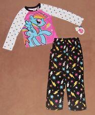 MY LITTLE PONY PAJAMAS 2/PC SET FLEECE BOTTOMS PINK/BLACK STRETCH 7-8 NWT
