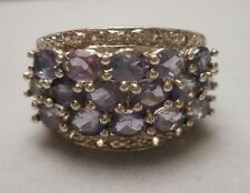 Sterling Silver Tapered Band Ring w/ 16 Oval Amethyst Stones - Size 7