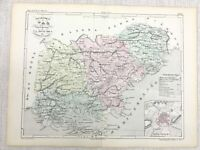 1881 Antique French Map Draguignan Var France Old Hand Coloured Engraving