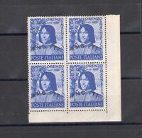 1949 Trieste A - N° 49, Lorenzo Il Magnifico, MNH Quartina Corner Di Sheet