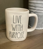 Rae Dunn - LIVE WITH PURPOSE - White Ceramic Coffee Mug